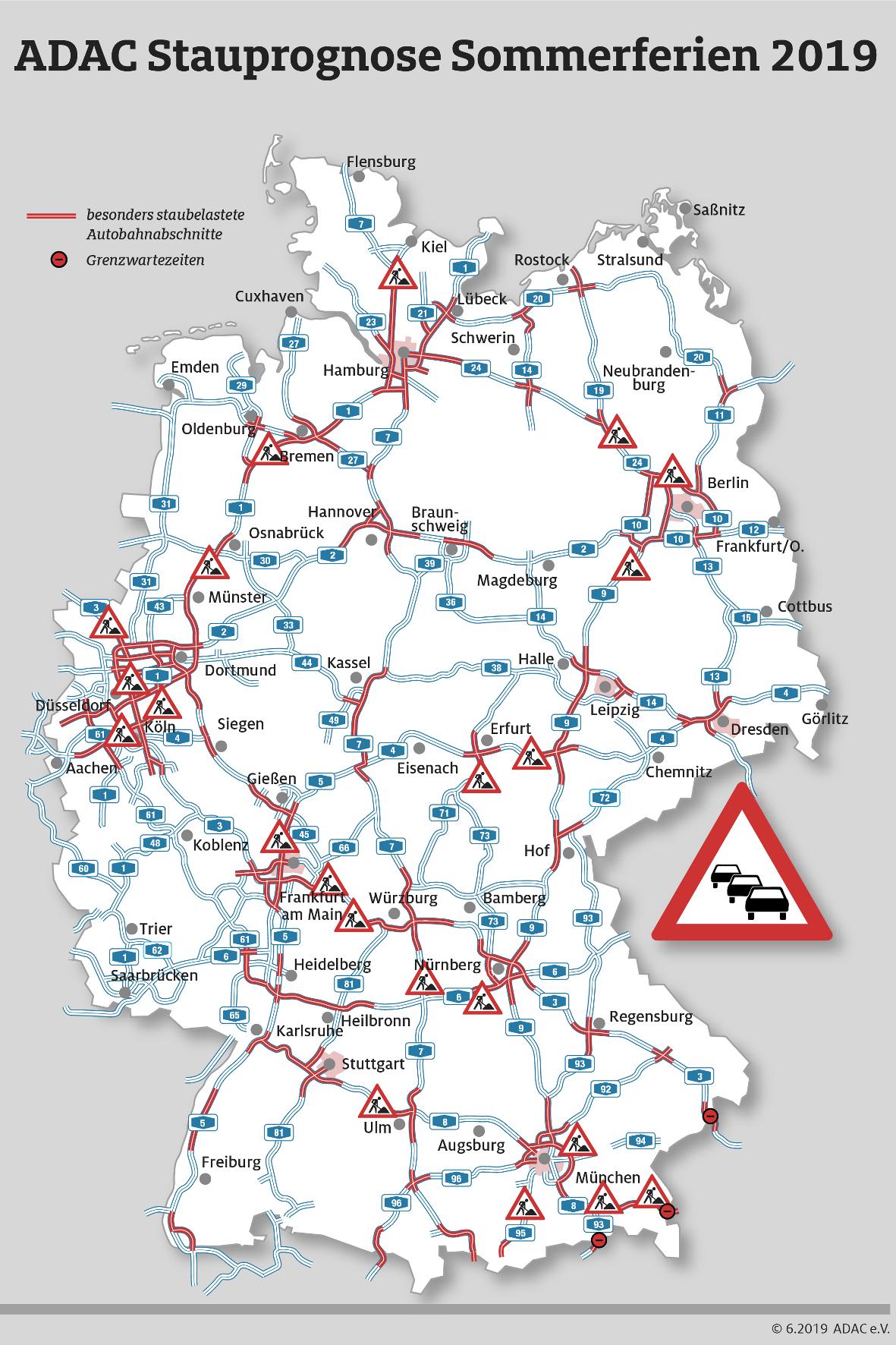 mid Groß-Gerau - Pfingsten geht es auf Deutschlands Straßen wieder hoch her. Der ADAC zeigt, wo es besonders eng werden könnte. ADAC