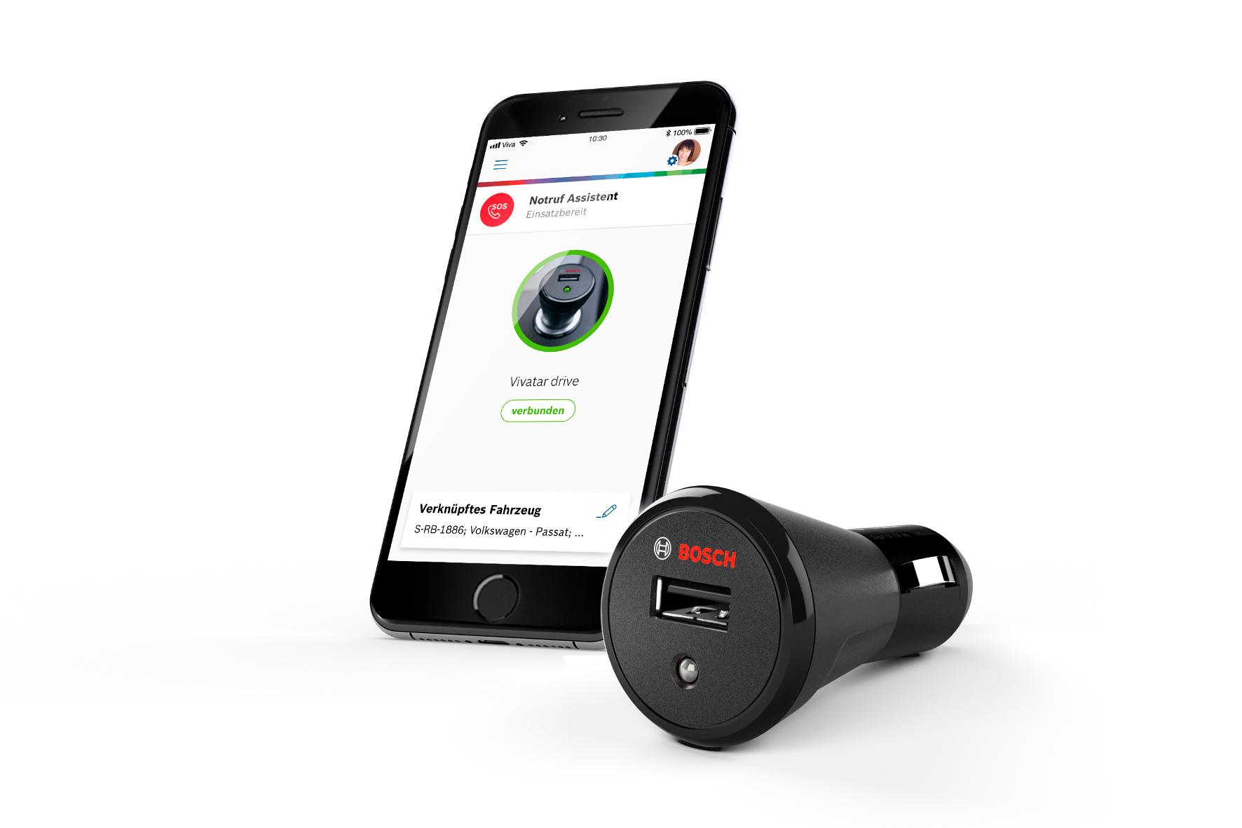 mid Groß-Gerau - Mit Spezial-Stecker und Smartphone-App können Autos, in denen es noch keine Notruf-Funktion gibt, nachgerüstet werden. Bosch