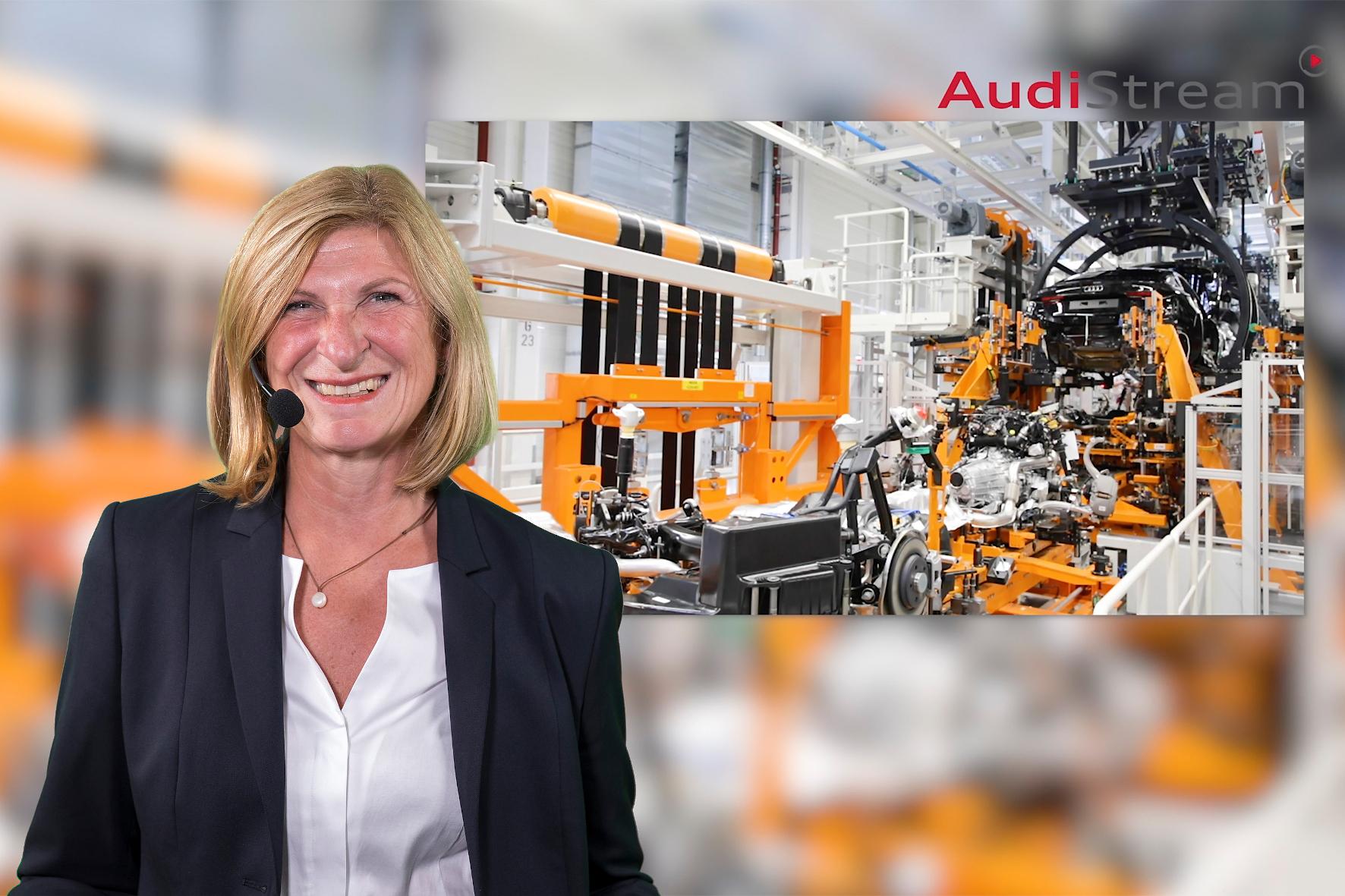 mid Groß-Gerau - Erfahrene Tourguides begleiten den virtuellen Rundgang durch die Audi-Produktionsanlagen und beantworten Fragen im Livestream. Audi
