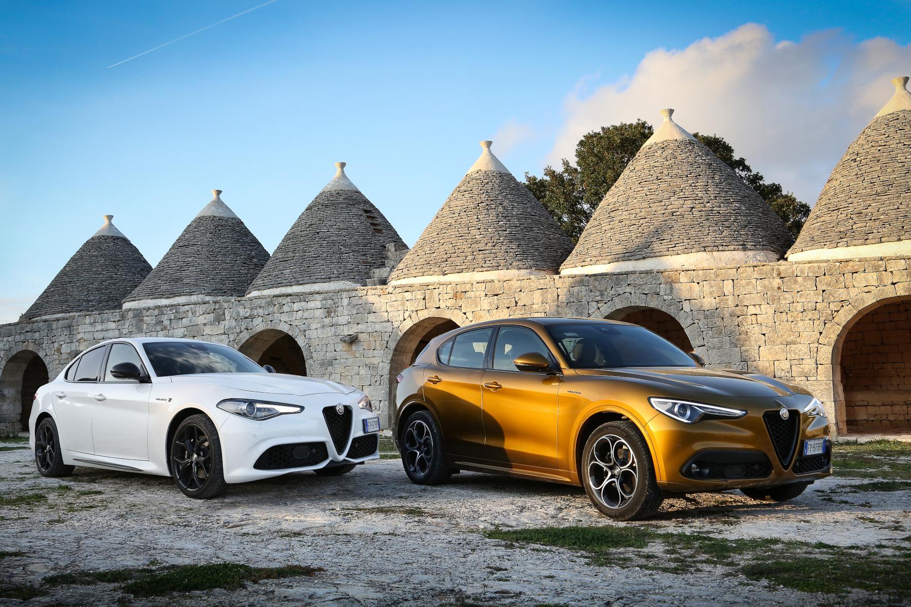 mid Bari - Kraftvolles Duo im Morgenlicht: Alfa Romeo Giulia und Stelvio bleiben äußerlich unverändert. FCA