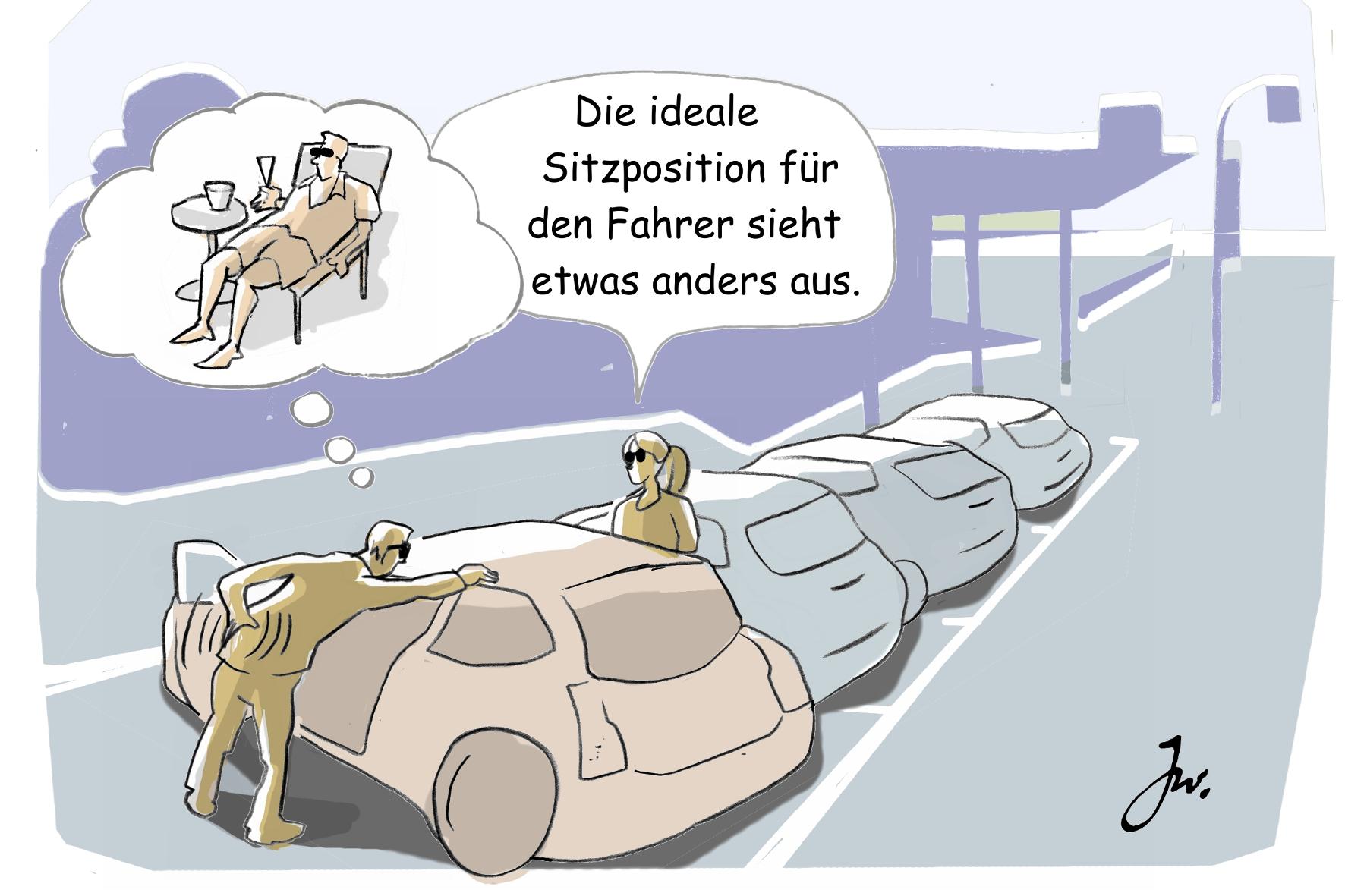 mid Groß-Gerau - Der Autositz ist kein Liegestuhl: Die Rückenlehne sollte in einem Winkel von etwa 100 Grad zur Sitzfläche eingestellt sein. Goslar Institut / HUK Coburg